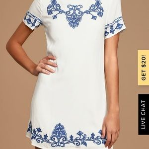 Blue and Ivory Embroidered Shift Dress